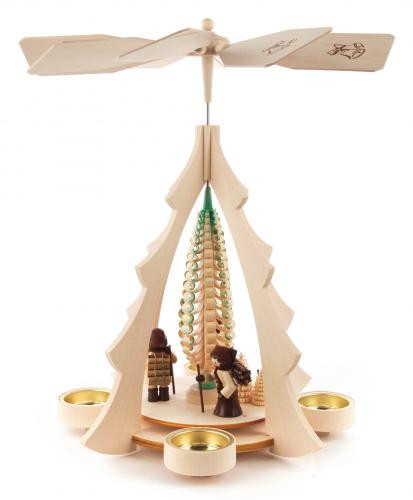 Weihnachtspyramide Waldleute natur für Teelichte