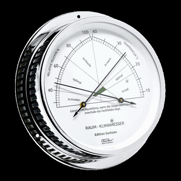 Fischer Raum-Klimamesser - Edition Sachsen - 150 mm Messing verchromt