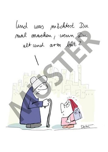 Postkarte Alt und Arm