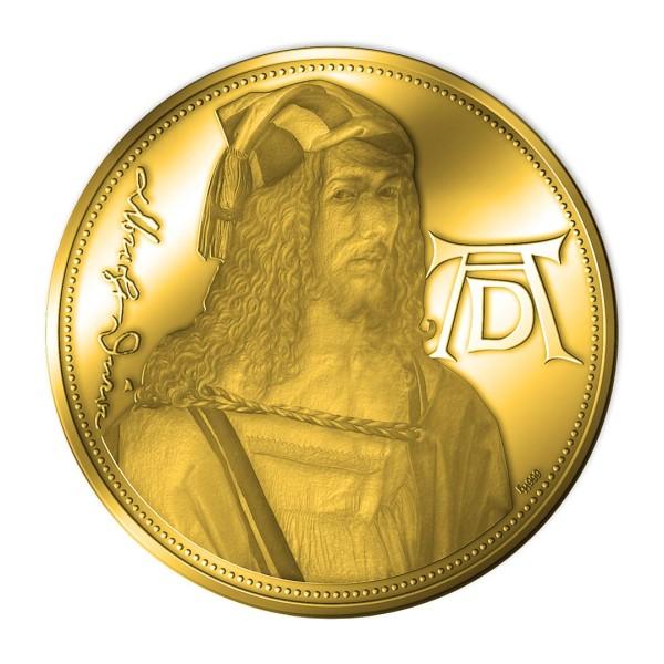 Sonderprägung Feingold 2021 – 550. Geburtstag Albrecht Dürer – Selbstbildnis mit Landschaft