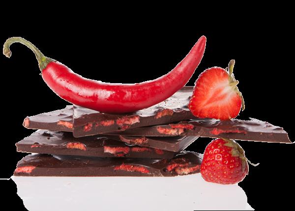 Bio-Schokolade (handgeschöpft) - Erdbeer-Chilli