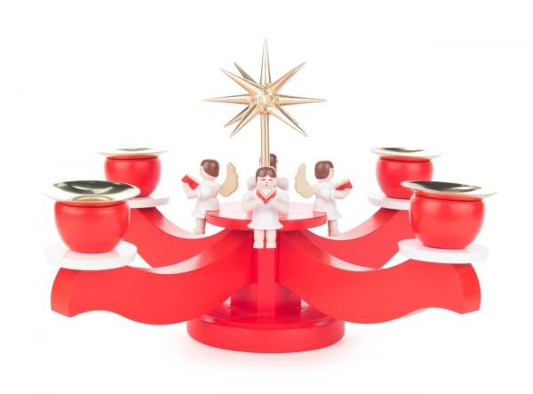 Adventsleuchter mit sitzenden Engeln und Stern, rot, für Kerzen Durchmesser 20mm