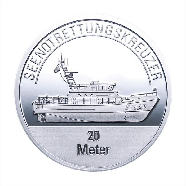 Sonderprägung Feinsilber – Die Seenotretter (DGzRS) – Seenotrettungskreuzer 20 Meter