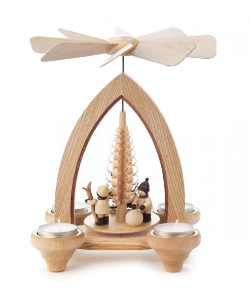Weihnachtspyramide mit Weihnachtsmann und Winterkindern, für Teelichte