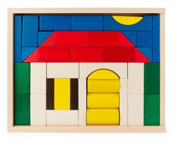 Baukasten mit buntem Haus-Motiv aus Holz 41 Teile