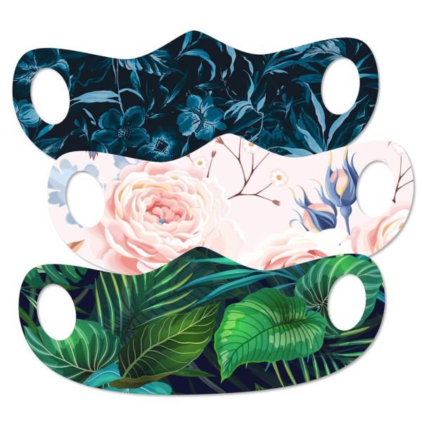 Mund- und Nasenmaske Blumen Set