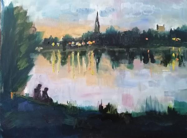 Olaf Amberg - Abendstimmung an der Elbe - Originalgemälde
