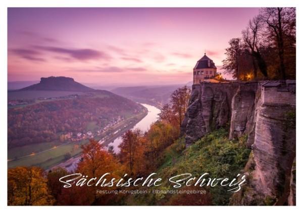 Postkarte Sächsische Schweiz - Königstein im Abendrot (Motiv PO_SSW_15)
