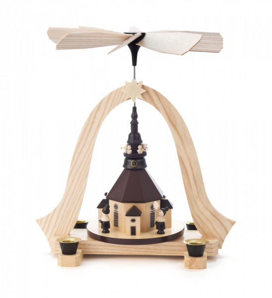 Weihnachtspyramide Seiffener Kirche, Kurrende und Turmbläsern für Kerzen Durchmesser 14mm