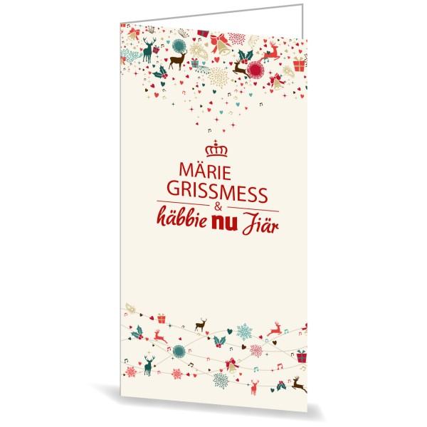 Karte mit Umschlag Märie Grissmess & häbbie nu Jiär