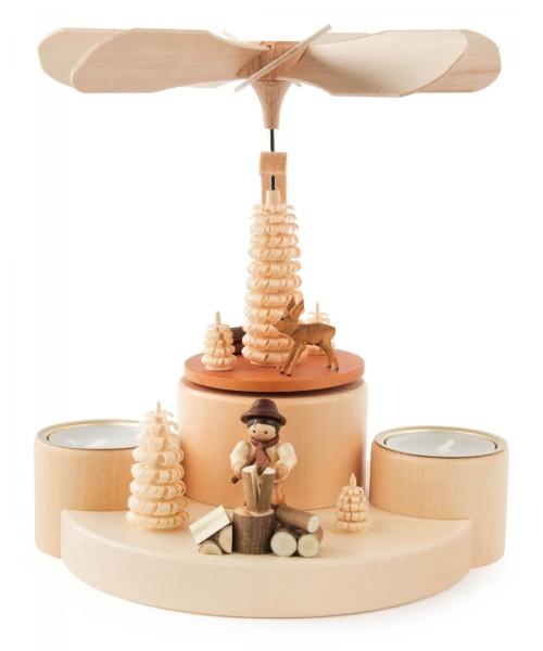 Weihnachtspyramide mit Rehen und Holzmacher, natur, für Teelichte
