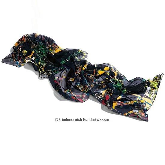 Friedensreich Hundertwasser: Seidenschal Dunkelbunt