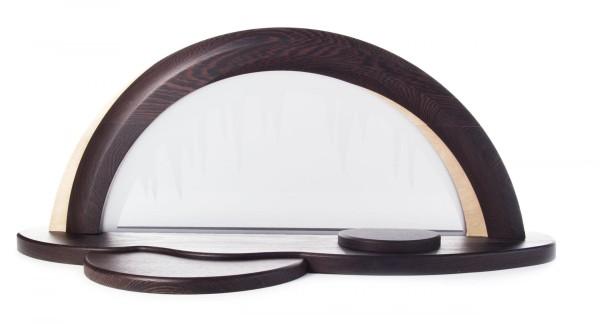 Design-Holzbogen Wenige / Hainbuche mit Glasscheibe, Vorleger und Erhöhung