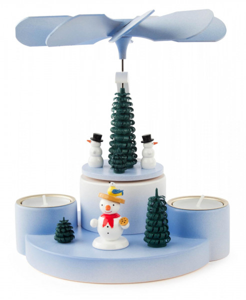 Weihnachtspyramide mit Schneemännern für Teelichte