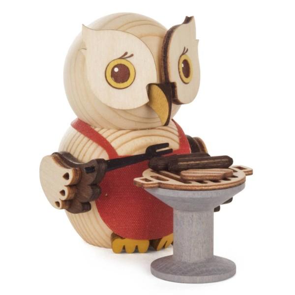 Holzfigur Mini-Eule mit Grill