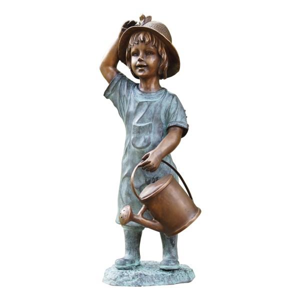 Gartenskulptur Mädchen mit Gießkanne Bronze