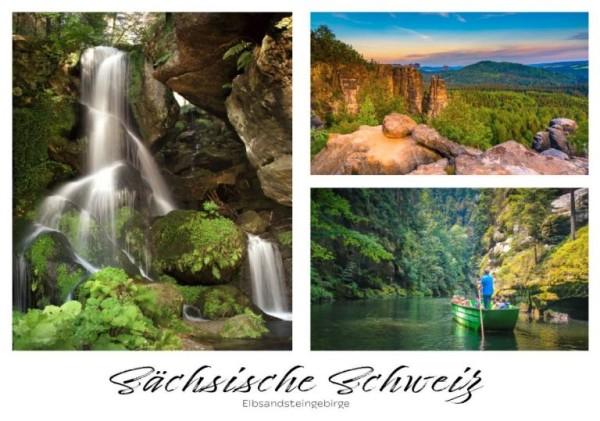 Postkarte Sächsische Schweiz - Wasserfall groß (Motiv PO_SSW_74)