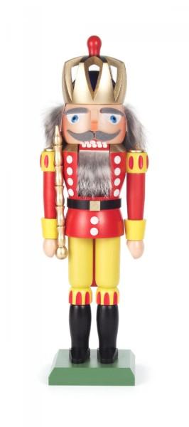 Nussknacker König rot-gelb 30cm mit durchbrochen gearbeiteter Krone
