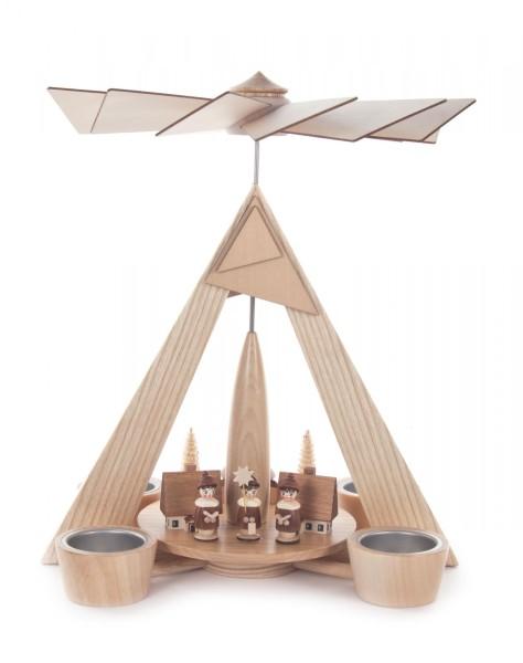 Weihnachtspyramide mit Seiffener Dorf und Kurrende natur, für Teelichte