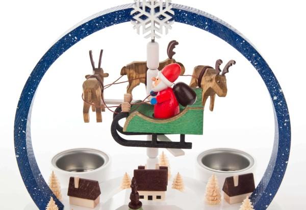 """Weihnachtspyramide """"Winterzauber"""" farbig, rund, für Teelichte"""