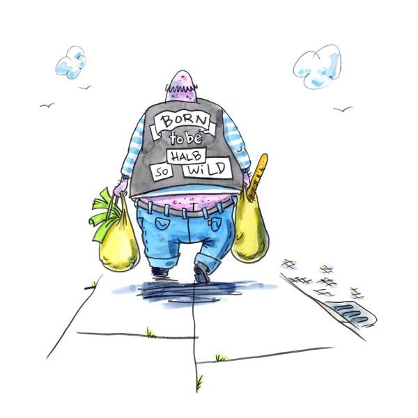 """Wandbild """"born to be halb so wild"""" - OL - 21. Deutscher Karikaturenpreis"""