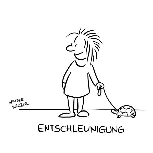 "Wandbild ""Entschleunigung"" - WINTERWERBER - 21. Deutscher Karikaturenpreis"