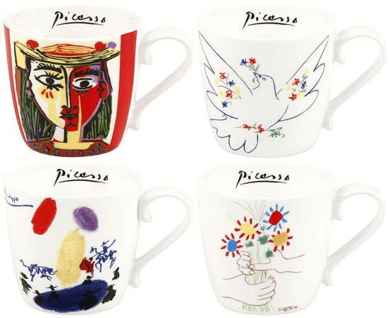 Pablo Picasso: 4-teiliges Becherset mit Künstlermotiven