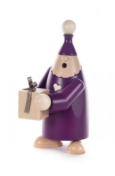 """Räuchermann Wichtel """"Felix"""" mit Geschenk, violett"""