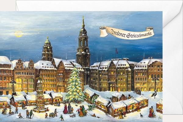 Weihnachtsklappkarte - Striezelmarkt
