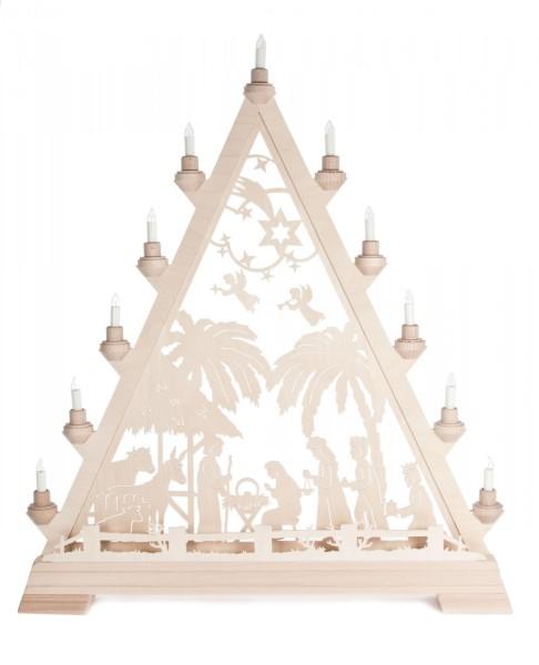 Weihnachtsdreieck mit Christi Geburt, elektrisch beleuchtet