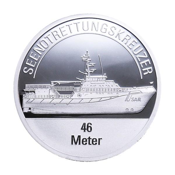 Sonderprägung Feinsilber – Die Seenotretter (DGzRS) – Seenotrettungskreuzer 46 Meter