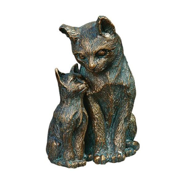 Gartenskulptur Katze mit Jungem Bronze