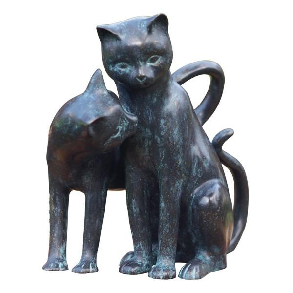 Gartenskulptur Spielende Katzen Bronze