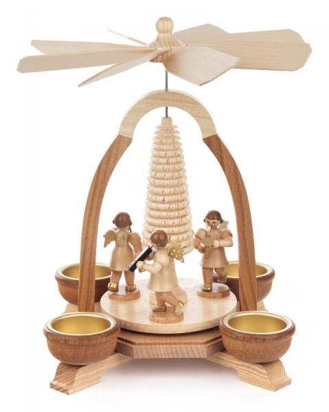 Weihnachtspyramide mit Baum und Musikengeln natur für Teelichte