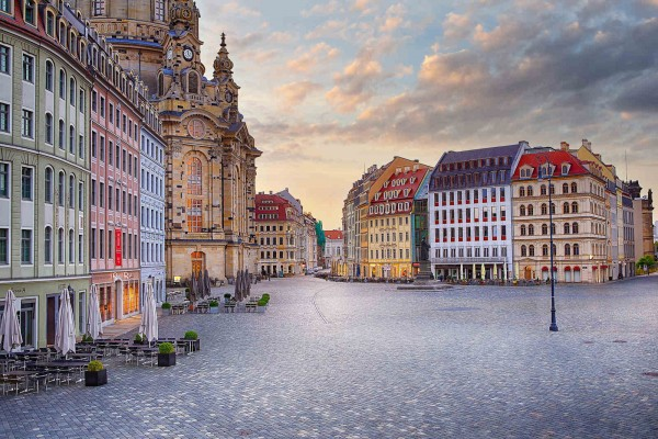 Wandbild Dresden - Sonnenaufgang über dem Neumarkt (Motiv DMDD26)