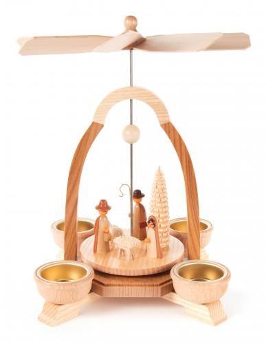 Weihnachtspyramide Christi-Geburt für Teelichte (helle Tüllen)