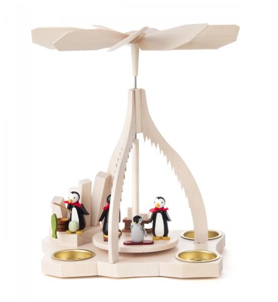 Weihnachtspyramide mit Pinguinen auf Eisscholle für Teelichte