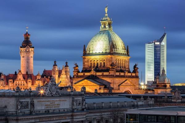 Wandbild Leipzig - Blick auf drei Wahrzeichen (Motiv PK01)
