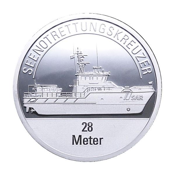 Sonderprägung Feinsilber – Die Seenotretter (DGzRS) – Seenotrettungskreuzer 28 Meter