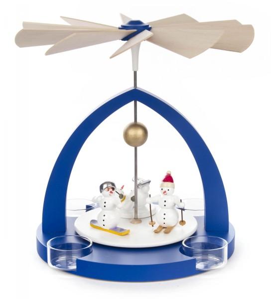 Weihnachtspyramide blau mit Schneemännern für Teelichte